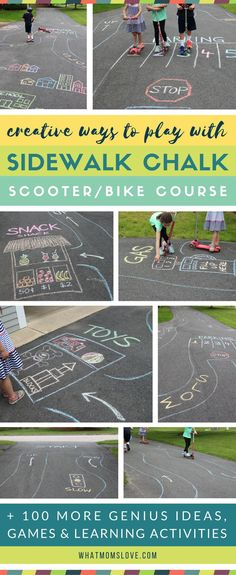 Sidewalk Chalk Ideas For Kids Fun games and activities to play on your driveway or walkway including learning, educational and active play Easy chalk art ideas that integrate your child - so cool! Great ideas for things to do over the summer to stop b Outdoor Games For Toddlers, Outdoor Activities For Kids, Fun Games For Kids, Toddler Activities, Learning Activities, Kids Fun, Camping Activities, Camping Games, Kids Outside Games