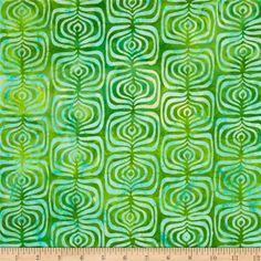 Indonesian Batiks Pop Art Stripe Green