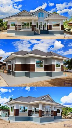 Elegant One Storey House Design - House And Decors Modern Bungalow House Design, Modern Small House Design, Classic House Design, Simple House Design, House Front Design, Minimalist House Design, Cool House Designs, Bungalow Floor Plans, Modern House Floor Plans