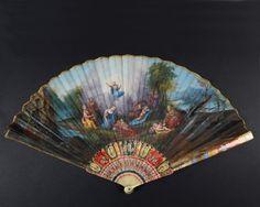 Les amours désarmés d'après L'Albane, vers 1700-1710 Eventail de type plié, la feuille double en papier peint à la gouache. Monture en ivoire, la gorge peinte de décors géométriques et d'inspiration asiatique.… - Coutau-Bégarie - 22/04/2016