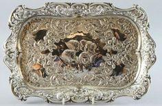 Art Nouveau Edwardian silver dressing table tray