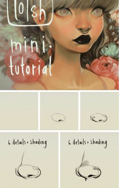How to draw a manga nose - Drawing Reference Nose Drawing, Manga Drawing, Drawing Tips, Drawing Tutorials, Art Tutorials, Drawing Faces, Drawing Ideas, Face Drawing Reference, Anatomy Drawing