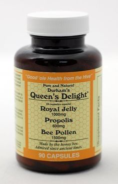 Durham's Queen's Delight (Royal Jelly 1000mg, Propolis 600mg, Beepollen 1500mg) in 3 Daily Capsules Durham's Bee Farm, Inc. http://www.amazon.com/dp/B003ALLHLM/ref=cm_sw_r_pi_dp_Pz7Ltb0508WRGVMP