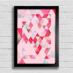 Poster Triângulos - Vermelho e Rosa - comprar online