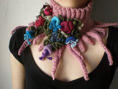 Elan... punto scarflette  cuello rosa por irregularexpressions
