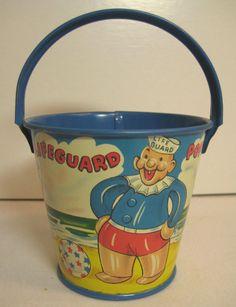 Vintage Small Toy Sand Bucket Pail Tin Litho Beach Metal Lifeguard Boat #ERosenCompany