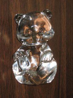 "Fenton Art Glass Clear Bear Figurine 3½"" tall #NN02"