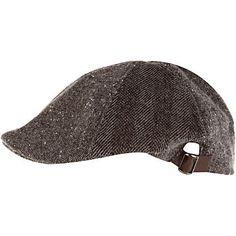 Grey Herringbone Flat Cap w/ Brown Buckle... Love these!!