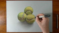 How I draw tennis balls 3d Drawings, Realistic Drawings, Tennis Drawing, Ball Drawing, Teaching Art, Teaching Ideas, Pencil And Paper, Italian Artist, Drawing Tools