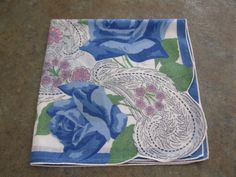 sweet blue roses / VINTAGE hankie by AntiqueShopGirl on Etsy, $5.00
