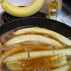 "Irish Bananas Allrecipes.com - ""Bananas are simmered in brown sugar, butter and Irish whiskey for a delicious warm treat to serve with vanilla ice cream."""