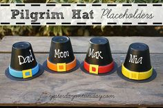 Pilgrim Hat Placeholders - Looking for cute way to add a touch of whimsy to your Thanksgiving table? Look no further than your garage or your potting shed! #tha…