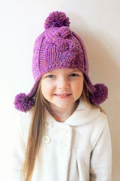 Winter Hat for Girls Knit Hat Kids Hat Pom Pom Hat Winter by 2mice
