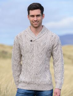 Men's Shawl neck sweater is made in Ireland of Wool. This unique Irish Sweater has a shawl neck feature with button. Created using traditional Aran cable, basket & diamond stitches, Order yours today from the Aran Sweater Market Mens Shawl Collar Sweater, Cable Sweater, Sweater Jacket, Men Sweater, Aran Sweaters, Knit Cardigan Pattern, Floral Shirt Dress, Dress Shirt, Simple Outfits