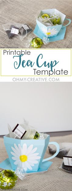 Create the perfect gift for spring with this Tea Cup Template. A tea cup gift for Mother's Day, Easter or Teacher Appreciation. OHMY-CREATIVE.COM | Paper Tea Cup | 3D Tea Cup | Tea Cup Gift | Spring Gift Ideas | Paper Tea Cup Template | Mother's Day Gift