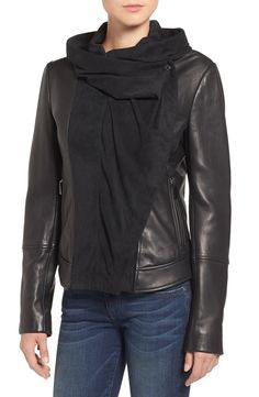 Totally in love with this suede and leather hooded moto jacket. Adding to the NSale wishlist now!