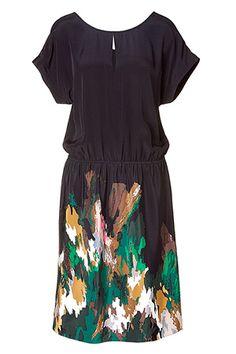 Tibi- Black/ Green Printed Silk Dress