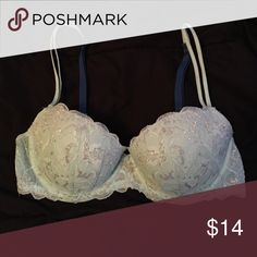 8ba552c5cfdb4 VS Pink bra Light blue silver lace push-up bra