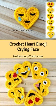 Crochet Emoji, Tears of Joy, Free Crochet Pattern, Valentines Crochet This Tears of Joy Crochet Emoji is number two in the series of six. This Emoji is also known as the Laughing Emoji. This Emoji is laughing so much that it is crying tears of joy. Marque-pages Au Crochet, Appliques Au Crochet, Beau Crochet, Crochet Mignon, Crochet Puff Flower, Crochet Amigurumi, Crochet Motifs, Crochet Flower Patterns, Love Crochet