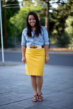 Chambray shirt with yellow skirt and I have that belt!