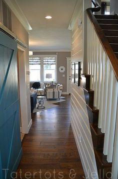 Wood Plank walls in hallway plus wood floors
