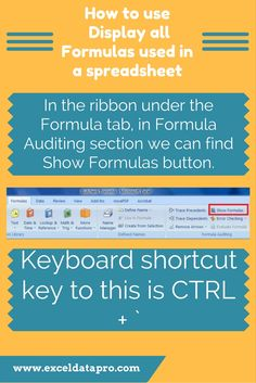 How to use Display all Formulas used in a spreadsheet
