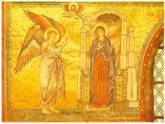 150$$Depictions of the Annunciation in early Christian art - wonderful article at http://www.johnsanidopoulos.com/2012/03/annunciation-in-early-christian-art.html (5th cent mosaic in Santa Maria Maggiore, Rome - the first depiction of the Dove symbolizing the Holy Spirit)