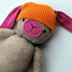 Beige and Pink Cashmere Funny Bunny Plushie by beeperbebe on Etsy
