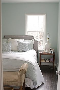 Benjamin Moore Woodlawn Blue. Beautiful light blue gray.