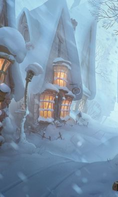House, street, winter, 480x800 wallpaper