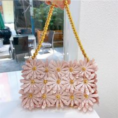 Exclusively from our CLEJJ Couture Collection. Get this beautiful daisy flowered purplish pink small flap... Unique Handbags, Damsel In Distress, Fringe Bags, Pink Outfits, Cute Bags, Party Bags, Soft Colors, Pink Purple, Crafty