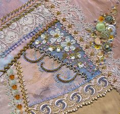 Krazy Quilting: lovely example of varied embellishment techniques
