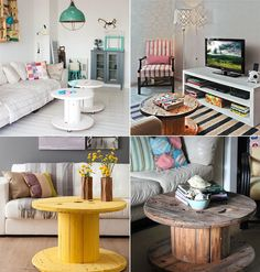 DIY: decoração com carretel de madeira - Casinha Arrumada Spool Tables, Diy Design, Interior Design, Diy Coffee Table, Palette, Diy On A Budget, Home Decor Bedroom, Decoration, Home Decor Inspiration