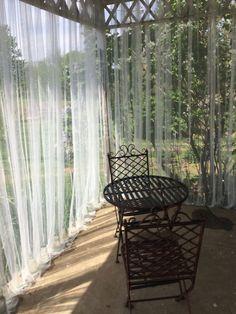 outdoor mesh curtains for bug barrier Outdoor Curtains For Patio, Balcony Curtains, Patio Diy, Outdoor Pergola, Outdoor Rooms, Backyard Patio, Outdoor Living, Outdoor Decor, Pergola Ideas