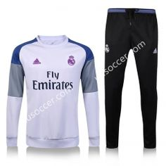 2016-17 Real Madrid Round CollarWhite Thailand Soccer Tracksuit
