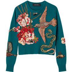 トップ ❤ liked on Polyvore featuring tops, sweaters, gucci, jumper, blue top, blue jumper and blue sweater