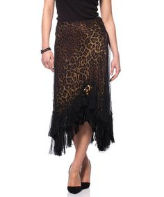 Take a look at this Brown & Black Animal Print Handkerchief Hem Skirt by Tusso Fashion on @zulily today! Just got it, gorgeous!!!