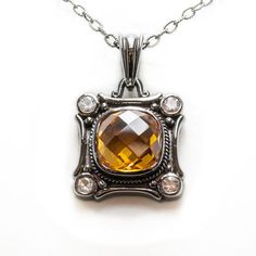 One Sterling Silver Pendant and Chain (Black Rhodium Plated) set with one Cushion Cut Citrine and set with 4 White Sapphires totaling Black Rhodium, White Sapphire, Cushion Cut, Sterling Silver Pendants, White Gold, Rose Gold, Necklaces, Pendant Necklace, Chain