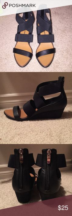 Wedge sandals Chinese Laundry Black wedge Sandals. Top straps are elastic with a zip back. Never worn. Chinese Laundry Shoes Sandals