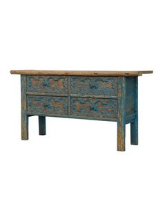 Depending on the styling, this beaut could fit right in in a kitchen, living room or den. Promenade Console at Horchow. French Sideboard, Painted Sideboard, Painted Chest, Painted Furniture, Shabby Chic Buffet, Console Storage, Dark Stains, Old Wood, Home Furnishings
