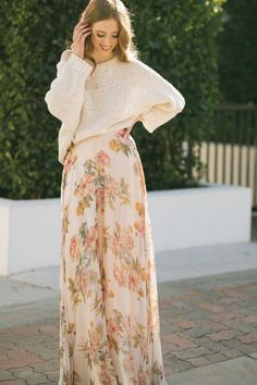 Shop the Janelle Floral Maxi Skirt - boutique clothing featuring fresh, feminine and affordable styles. Cute Fall Outfits, Classy Outfits, Flowy Bridesmaid Dresses, Maxi Dresses, Bridesmaids, Cute Maxi Skirts, Feminine Dress, Floral Maxi, Skirt Outfits