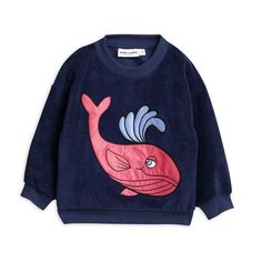 Shop dark blue terry sweatshirt with pink whale appliqué on the front, from Mini Rodini's Tropical Island: Paranormal Fantasy collection. Swedish Clothing Brands, Wal, Hoodies, Sweatshirts, Mini, Organic Cotton, Chloe, Upcycle, Kids Fashion