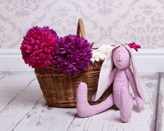 Harriet the Hare Teddy by Oopsie Daisy Textiles Sewing A Button, Hare, Lilac, Daisy, Recycling, Textiles, Flowers, Gifts, Presents