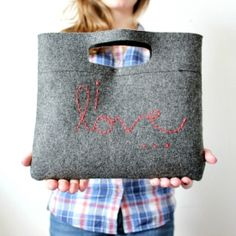 """Learn how to make your own """"I love..."""" Felt Clutch! Perfect for a lovely fall day!"""