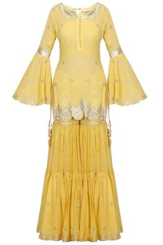 Mustard yellow and gold gota patti work kurta and sharara set available only at Pernia's Pop Up Shop. Free Drum Lesson From Top Pro's Across The World Click Now Indian Fashion Dresses, Indian Designer Outfits, Designer Dresses, Stylish Dress Designs, Stylish Dresses, Simple Dresses, Sharara Designs, Pakistani Outfits, Indian Outfits