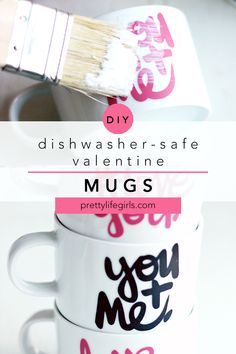 These DIY #LoveYou coffee mugs are dishwasher safe and so easy to make! They're the perfect handmade gift for Mother's Day, Father's Day, Valentines, birthday or any time! Use vinyl letters and coat with Mod Podge. The Pretty Life Girls #modpodge #vinylcrafts #vinylprojects #cricut #silhouette #plaidcreators #diyproject #craftidea #easycraft #howtomake #vinyl #silhouette Fun Valentines Day Ideas, Easy Valentine Crafts, Valentines Gifts For Him, Cute Kids Crafts, Crafts For Kids To Make, Easy Crafts, Vinyl Projects, Diy Craft Projects, Craft Ideas