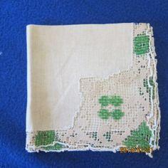 Cloth and filet lace tea napkin folded - Theresa Giana Zara