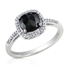 1 CT. T.W. Cushion-Cut Enhanced Black and White Diamond Frame Ring in 14K White Gold