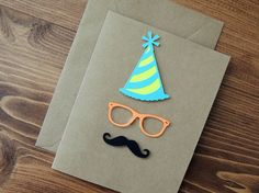 Happy Birthday Mustache and Glasses. Hipster Card by CorazonesdePapel