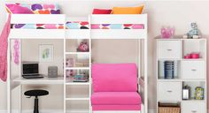 White loft bed with desk and sofabed - Google Search